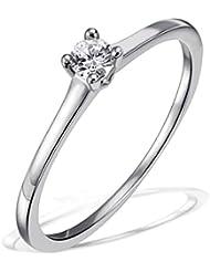 Goldmaid–Bague Solitaire Jana Jana Bague Solitaire 0,10ct. 585or blanc diamant 0.10ct blanc carat Taille 54(17.2)–So r6732wg54