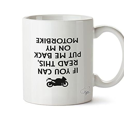 Hippowarehouse SI vous pouvez lire Ceci, Put Me Back on my Moto (Imprimé à l'envers) 283,5gram Mug Cup, Céramique, blanc, One Size (10oz)