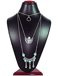 Joovaa Oxidized Silver Turquoise Multi Layered Necklace For Girls