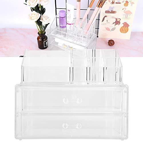 Acryl Kosmetik Make-up, 2 Schubladen 9 Slots Schlafzimmer Schminktisch Schmuck Display Box Make-up Pinsel Halter Transparent Kosmetik Aufbewahrungskoffer Container Veranstalter Typ für Lippenstift -