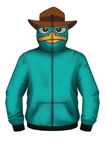 Kostüm Schnabeltier - Phineas and Ferb Perry The Pet Platypus Turquoise Kostüm Hoodie Zip Up Sweatshirt (Large)