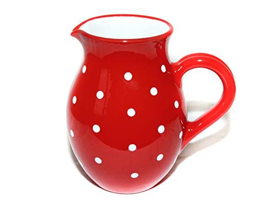 UNGARNIKAT Keramik Krug/Kanne rot mit handbemalten weißen Punkten Groß 1,2 L - Hohe, Weiße Keramik-krug
