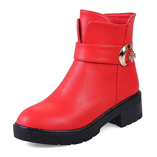 HOESCZS Große Größen 32-43 Damenschuhe Frau Western Stiefel Mode Winter Stiefeletten Frau Schuhe,rot,33 -