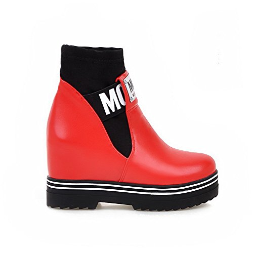 AgooLar Damen Rund Zehe Gemischte Farbe Niedrig-Spitze Hoher Absatz Stiefel mit Anhänger, Rot, 38