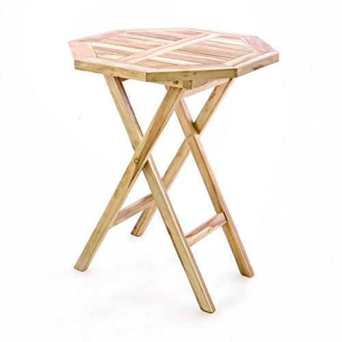 Divero Balkontisch Gartentisch Beistelltisch Teak Holz Tisch für Terrasse Balkon Garten –...