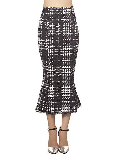 iB-iP Femme Coton Houndstooth Plaid Mid Taille Jupe En Zigzag Entravé Noir