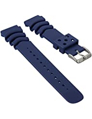 Bracelet de montre ZULUDIVER Sport Plongeon PU Caoutchouc Bleu 22mm pour SEIKO
