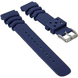ZULUDIVER PU Rubber Sports Diver Watch Strap for SEIKO Dark Blue 20mm