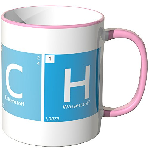 JUNIWORDS Tasse - Wähle eine Farbe -Periodensystem Lauch - Rosa