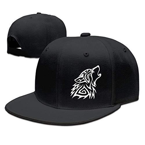 Xukmefat Adult Snap-Back Caps,Tribal Wolf Howl Adjustable Hip Hop Flat Brim Baseball Cap NN10097
