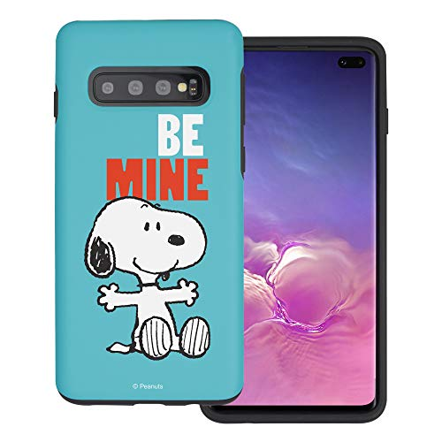 Schutzhülle für Galaxy S10 5G (6,7 Zoll), Peanuts-Hybrid, TPU und PC, Snoopy Be Mine Schutzhülle für Galaxy S10 5G, Cyan -