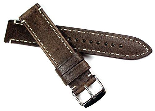 RIOS 1931 20mm Herren Leder Vintage Aviator Deutsch Uhrenarmband dunkel braun CT