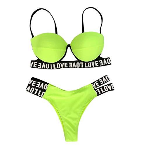MRENVWS Fashion Women Sexy Swimsuit Leopard Print Camisole Bandage Bikini Set Beachwear -