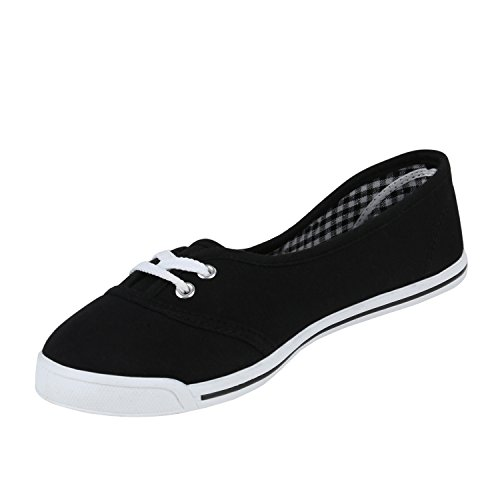Sportliche Damen Halbschuhe Sneakers Schnürer Schuhe Schwarz Weiss Weiss