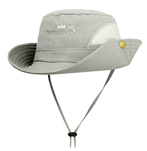 Lamdgbway Schnelltrocknend Safari Sonnenhut Unisex Sommer UV-Schutz Löffel Mesh Cap Boonie Hut Hell Grau Design Eimer Hüte Für Männer