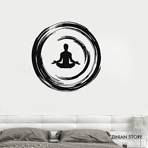 guijiumai Yoga Buddhistische Meditation Wandtattoo Enso Kreis Schlafzimmer Wandaufkleber Vinyl Wandkunst Wandbild Wallpaer Removable Home Decor grau 56x56 cm