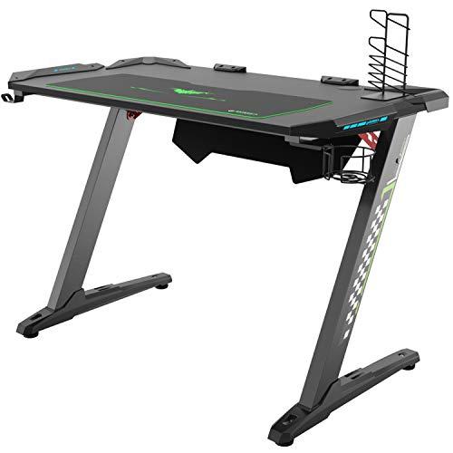 Eureka Ergonomic Z1-S Gaming Computer Desk Gaming Table LED Lights Raven Black