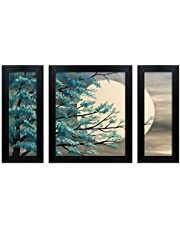 Home Attire beautiful night moon  matte finish paintings- Set of 3(6x14inches-2) + (12X14inches -1)