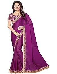 Rani Saahiba Women's Chiffon Saree With Blouse Piece (Skr3356_Purple)