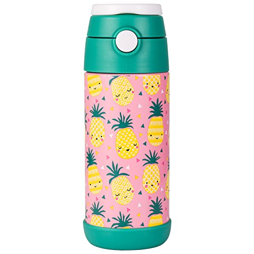 Snug, borraccia thermos per bambini, bottiglia termica con cannuccia pineapple
