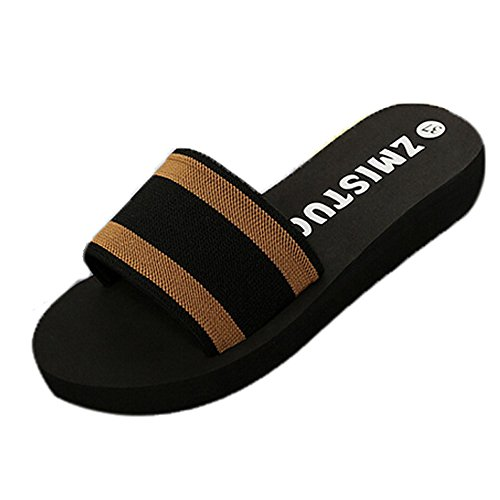 KonJin Womens Flip Flops Summer Casual Solid Color Slippers Flat Sandals Shallow Wedge Beach Open Toe Shoes Patent Leather Cork Wedge Sandal