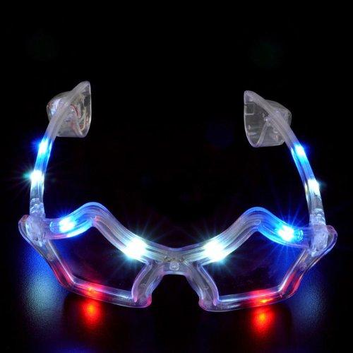 Light Up Flashing Star Brille mit 10rot, weiß & blau LED 's. Ideal für Halloween. Tolles (Brille Patriotische)