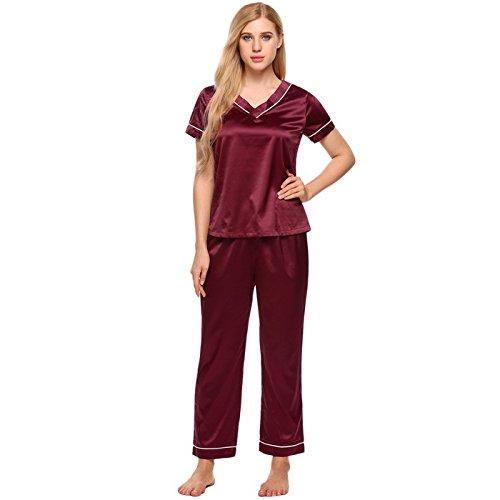 WDDGPZSY Nachthemd/Nachtwäsche/Schlafhemd/Homewear/Pyjamas/Frauen Satin Pyjama Set V-Ausschnitt Kurzarm Top Und Lange Hosen Lounge Nachtwäsche Beiläufige Lose Feste Pyjama, Rot, L (Satin-lounge-hose)