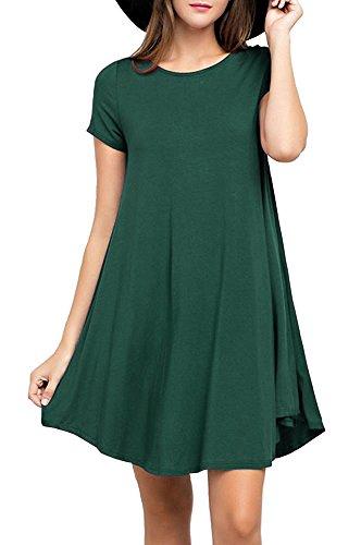 LILBETTER Elegant Damen Sommerkleid Strandkleid Rundhals Kurze Ärmel Rock Partykleid (Dunkelgrün L) (5 L-dunkelgrün X)