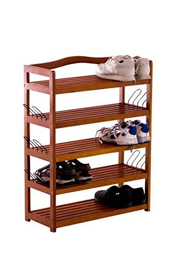 Clp scarpiera salvaspazio michaela in legno | portascarpe ingresso 5 ripiani capacità 22x scarpe | mobile organizza scarpe con mensole dogate | portascarpe ingresso con rinforzi laterali marrone