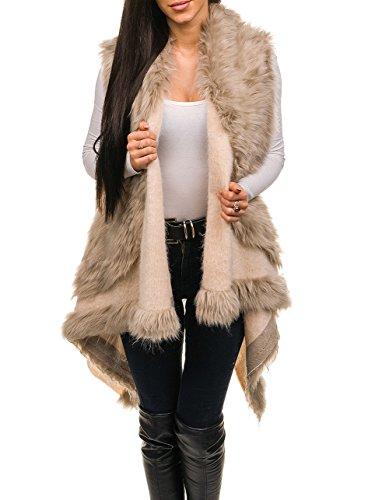 d9c365d67b23cf BOLF Damen Weste elegant Fellweste Kunstfell Täglicher Style AAA 1000 One  Size Beige [D4D]