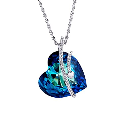 """MUUII - Blue Heart Romantic Love Pendant Necklace – Made with Swarovski Element Crystals – from our """"Special gifts for Her"""" Collection – the Perfect Birthday or Mother's Day Gift"""