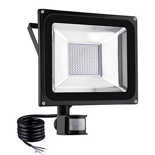 TEquem Warmweiß 100 Watt LED SMD Flutlicht Strahler mit PIR Bewegungsmelder Fluter 220V Außenleuchte Wandstrahler Außenstrahler IP65 2800K-3200K