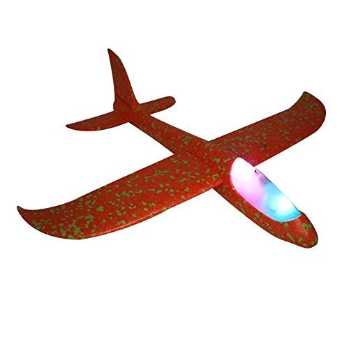 Flugzeug Spielzeug Flugspielzeug Gleiter Gleitflug Wurfgleiter Outdoor Segelflugzeug mit LED Licht Nacht für Partys Kinder Dekoration Geschenk 48cm Orange