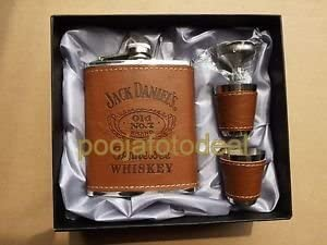 Shopee Liquor Holder With Hip Flask Stitched Leather And Stainless Steel Hip Flask (230 Ml),Brown