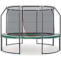 Preisvergleich für Ampel 24 Deluxe Outdoor Trampolin oval 250 x 370 cm komplett mit innenliegendem Netz, Belastbarkeit 150 kg, Sicherheitsnetz mit 8 Stangen