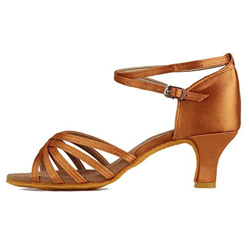 HIPPOSEUS Donna Standard Scarpe da Ballo Latino/Altezza Tacco 5CM,ITQ213-5,Marrone,EU 39