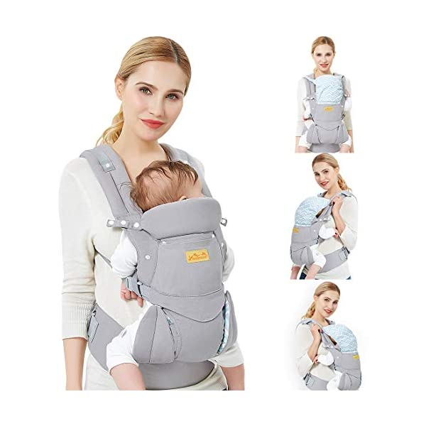 """Viedouce Baby Carrier Ergonomic/Pure Cotton More Lightweight and Breathable/Multiposition: Dorsal and Ventral/Adjustable Headrest/for Newborn and Toddler 3 to 48 Month (3.5 to 20 kg) Viedouce 【Pure Cotton】- All our baby carriers are made of high quality fabric and free from harmful substances. The fabric is breathable, skin-friendly and soft, it is made of premium natural pure cotton to to keep baby's soft skin safe and comfort baby wearing in four seasons. Adequate safety tests ensure the soft fabrics gently hug your baby's back, legs and hips, and provide good support. 【Ergonomic Design】- Our ergonomic backpack carrier makes it easy for you to give your child the closeness and security they need. You can see and feel your baby's position and the natural C curve of their back.Ergonomic Butterfly adjustable seat and leg openings facilitates the thighs, knees and lower legs to be correctly placed and supported in an M shape that prevents """"Developmental Hip Dysplasia"""". 【Waist Belt & Shoulder Straps】- Upgraded wide waist belt and shoulder straps padded with soft material eases pressure on the back and shoulder, releasesing burden in a large extent when you carry your baby. Luxuriously thick and soft padding in the shoulder straps give you superior carrying comfort and prevent straps from slipping off. Adjustable shoulder straps are suitable for moms and dads of all shapes and sizes. You won't feel tired while carrying baby for a long time. 1"""