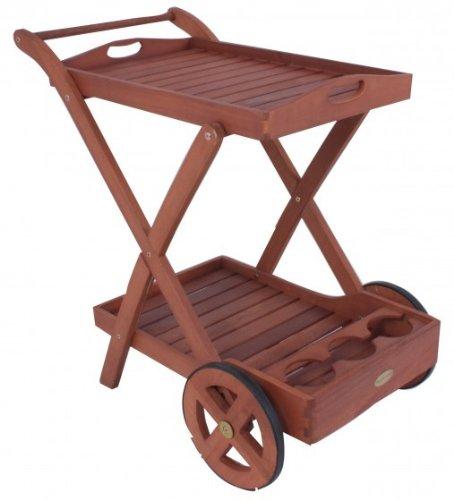 Table roulante Plateau Amovible Chariot de thé Eucalyptus huilé Jardin terrasse Espace extérieur