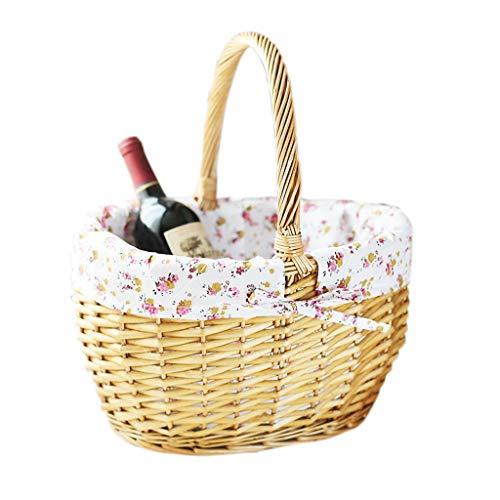 JQHLJYCL Weide einkaufen Ablagekorb, tragbare Picknickkorb Obstkorb Rattan kreative Wohnzimmer Obstkorb Picknickkorb Weiden Obstkorb Eierkorb (Size : Two-piece set) -