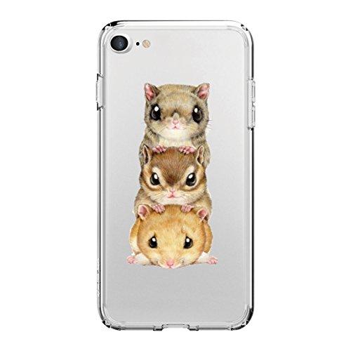 (Hülle für iPhone 7, Crazylemon Transparent Ultradünn Flexibel Weich TPU Silikon Klare Bunte Niedlich Muster Passt Perfekt Antikratzer Zurück Durable Gummipuffer Schutzhülle für iPhone 7 4.7 Zoll - Hamsters)
