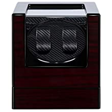 Kalawen Double Automatic Watch Winder with 5 Rotation, Mute Japanese Motor, Dual Watches Rotation Storage Case Display Box for Automatic Mechanical Watches-Red Wood Grain