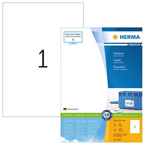 Herma 4428 Universal Etiketten (DIN A4 210 x 297 mm) weiß, 100 Aufkleber, 100 Blatt Premium Papier matt, bedruckbar, selbstklebend