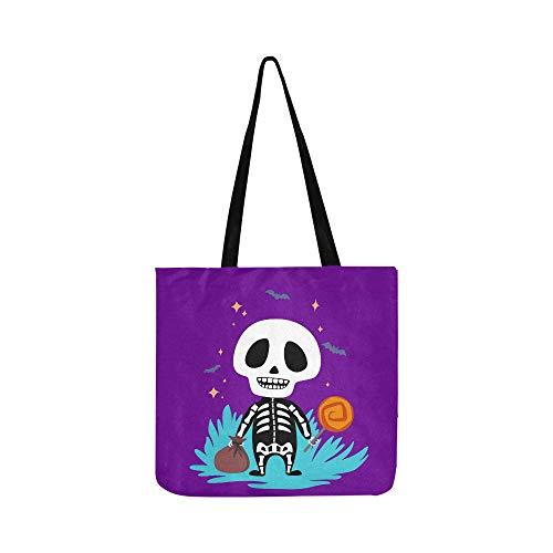 Nette Kawaii Skeleton Halloween Leinwand Tote Handtasche Umhängetasche Crossbody Taschen Geldbörsen Für Männer Und Frauen Einkaufstasche