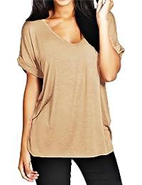 ZANZEA Mujer Básica Camiseta Manga Corta Cuello Pico 13 Colores Estampado Camuflaje Verano