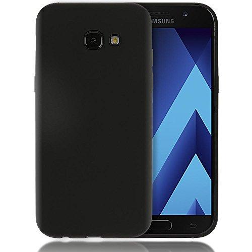 NALIA Handyhülle kompatibel mit Samsung Galaxy A5 2017, Jelly Case Schutzhülle Ultra-Slim Silikon Back-Cover, Dünne Gummi Hülle Handy-Tasche Schale, Smart-Phone Bumper Skin Etui, Farbe:Schwarz Schwarz-mobile-skin