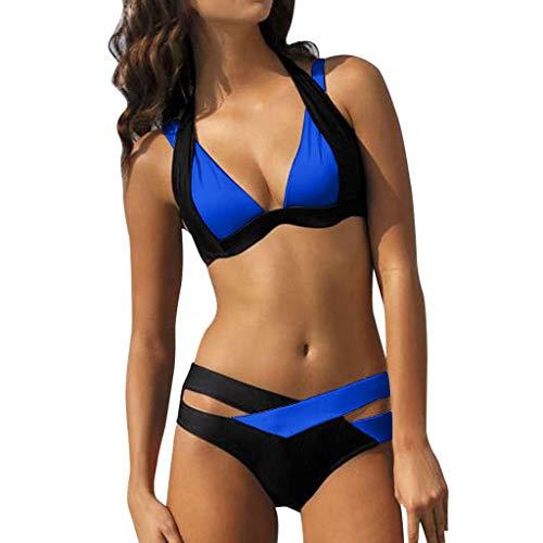 Bikini Loveso 2017 Damen Elegant Weiß und Schwarz Bikini-Sets Neckholder Push-Up Bademode Zweiteilig Strandmode (S, Blau) - Schwarzes Neckholder-bikini
