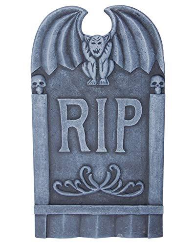 Horror-Shop Halloween Grabstein R.I.P. mit Gargoyle als gruselige Friedhofsdeko für Halloween