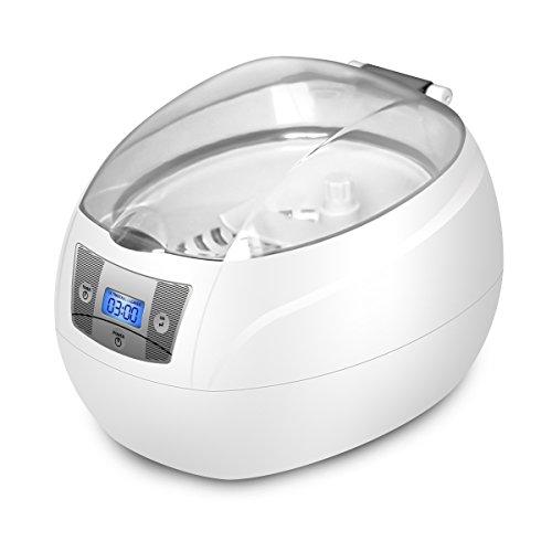 Limpiador ultrasónico, Charminer de acero de 600 ml 42000 Hz 220v JP-900S pequeño limpiador ultrasónico, limpiador ultrasónico 50 vatios para gafas pequeñas piezas de joyería y relojería de dentaduras máquina de afeitar, etc. Blanca
