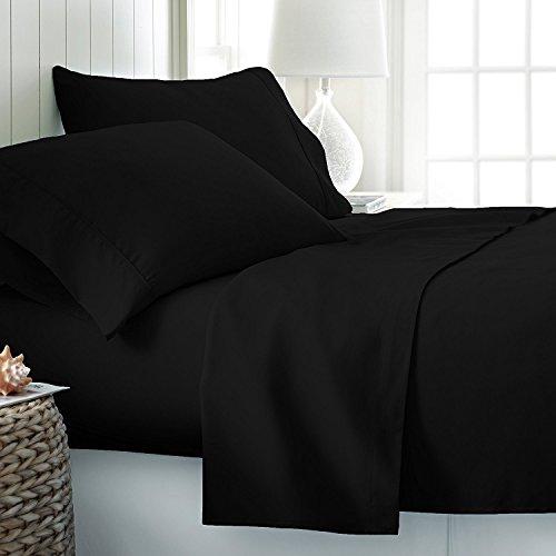 Jasmin Elinor 3-teiliges Bettwäscheset, enthält Deckenbezug und Kissenbezüge, 100 % ägyptische Baumwolle, Fadenzahl 200, Hotelqualität, Schwarz , Super King