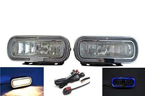 Preisvergleich Produktbild 12V 55W Motorrad Nebelscheinwerfer mit Blauer Ring & Verkabelung Schalter Kit